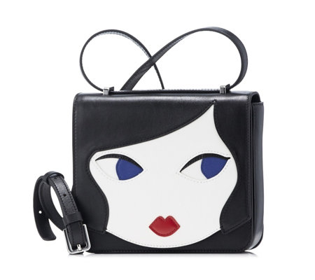 Lulu Guinness Marcie Doll Face Leather Crossbody Bag