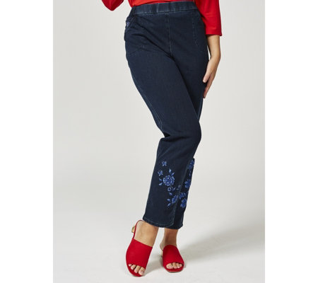 Quacker Factory DreamJeannes Short Length Embroidered Trousers