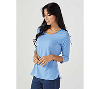 Ruth Langsford Stretch Crepe Plain 3/4 Sleeve Zip Back Top - 168335
