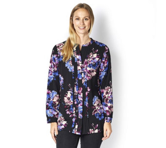 Isaac Mizrahi Live Printed Pleat Front Tunic Top - 161336