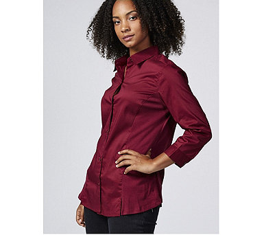 Zac & Rachel 3/4 Sleeve Stretch Woven Shirt with Jersey Side Panels - 168736