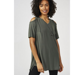 Grace Cold Shoulder Tunic with Stud Detail Sleeve & Necklace - 169936
