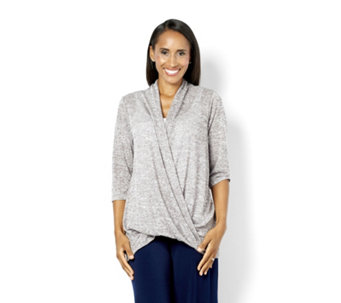 Kim & Co Soft Linen Look Knitted Wrap Front 3/4 Sleeve Tunic - 160337