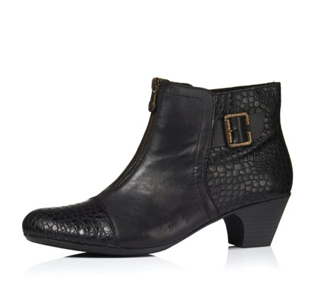 Rieker Ankle Boot with Buckle & Croc Detail