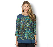 Isaac Mizrahi Live 3/4 Sleeve Peplum Engineered Tapestry Top - 161337