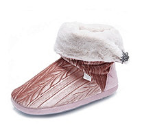 Pretty You London Vida Velvet Bootie Slippers - 166737