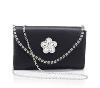 Butler & Wilson Envelope Shape Edge Crystals Cut Glass Flower Bag - 169037