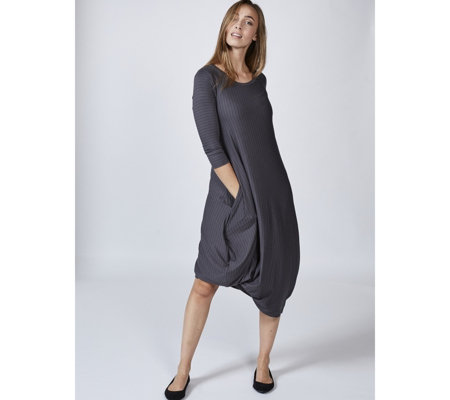 Yong Kim 3/4 Sleeve Uneven Hem Round Neck Dress