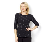 Kim & Co Brazil Knit Birds Print 3/4 Sleeve Top