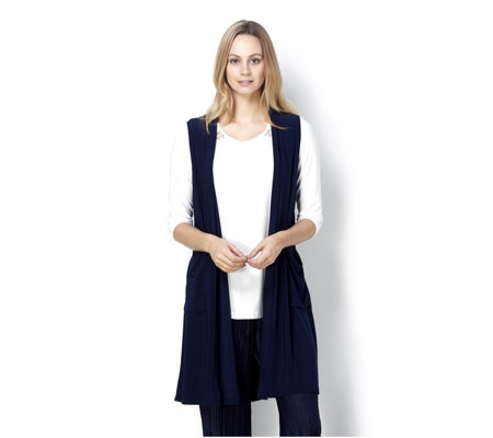 Longline Waistcoat with Pockets and Gathered Back by Nina Leonard