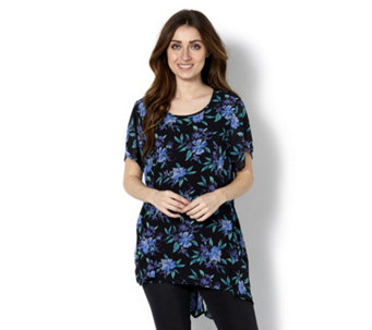 Floral Printed Dip Back Hem Tunic by Michele Hope - 163538
