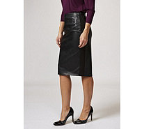 Ruth Langsford Faux Leather Pencil Skirt Ponte Side Panels - 169338