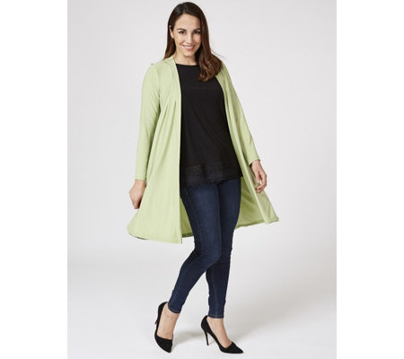 Long Sleeve Duster Cardigan with Back Tie Detail by Nina Leonard