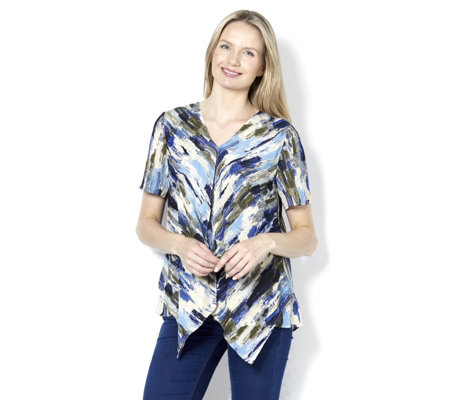 H by Halston Double Layer Print Top with V Neck and Short Sleeves
