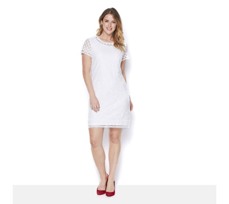 Isaac Mizrahi Live Short Sleeve Placed Lace Dress