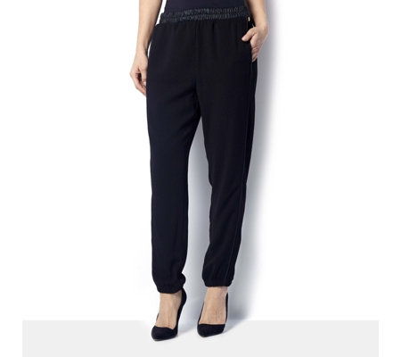 L'Officina della Moda Faux Leather Trim Pull On Trouser