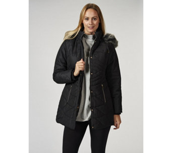 Details Panel Detail Faux Fur Hooded Coat - 166639