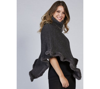 Rino & Pelle Knitted Faux Fur Trim Poncho - 167239