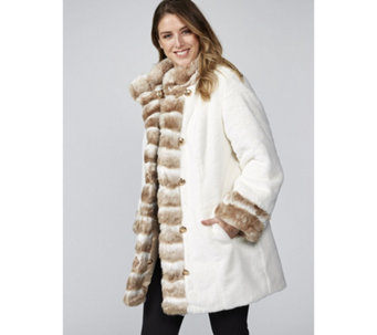 Dennis Basso Reversible Stand Collar Coat with Faux Fur Trim - 169239