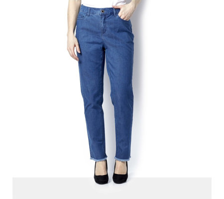 C. Wonder Slim Leg Ankle Length Frayed Hem Jeans