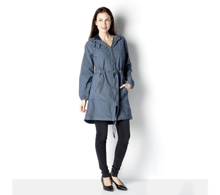 Centigrade Denim Zip Front Hooded Spring Parka Jacket