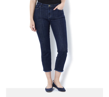 Logo by Lori Goldstein Straight Leg Frayed Hem 5 Pocket Jean