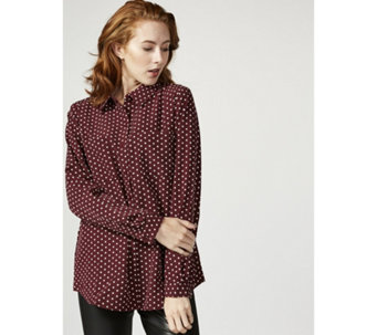 Printed Stretch Woven Button Front Shirt by Susan Graver - 166840