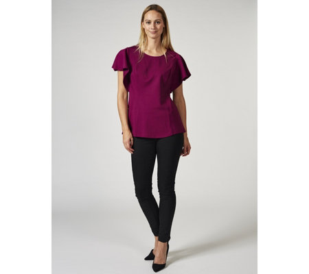 H by Halston Ponte Flounce Sleeve Top