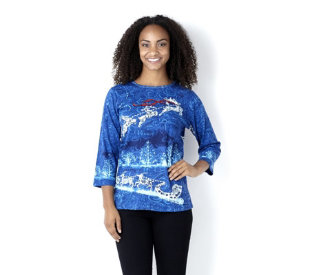 Artscapes Reindeer Round Neck 3/4 Sleeve Top