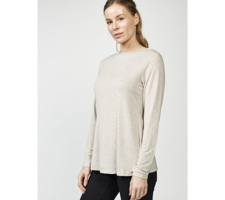 H by Halston Essentials Boat Neck Top with Insert Details