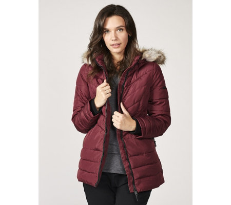 Centigrade Supersoft Fill Quilted Faux Fur Hooded Jacket