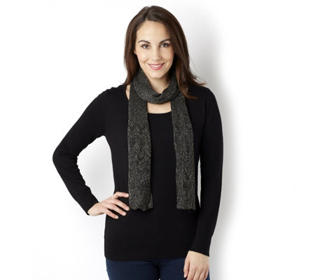 Lurex Knit Jumper & Pointelle Scarf by Nina Leonard