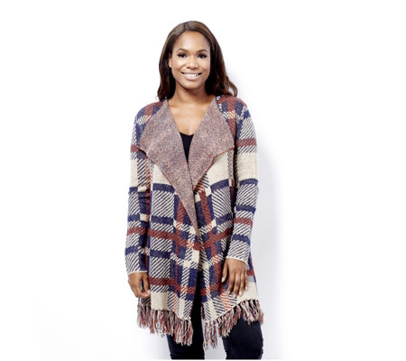 Absolutely Famous Plaid Jacquard Drape Front Cardigan with Fringe Detail