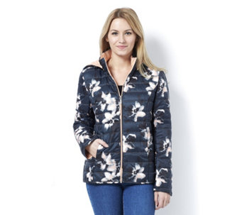 Centigrade Zip Front Floral Print Quilted Jacket - 163842