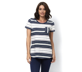 Isaac Mizrahi Live True Denim Short Sleeve Striped Top with Curved Hem - 165342