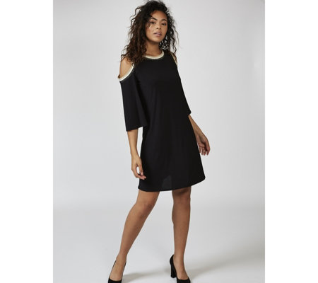 Coco Bianco 3/4 Sleeve Cold Shoulder Swing Tunic Dress