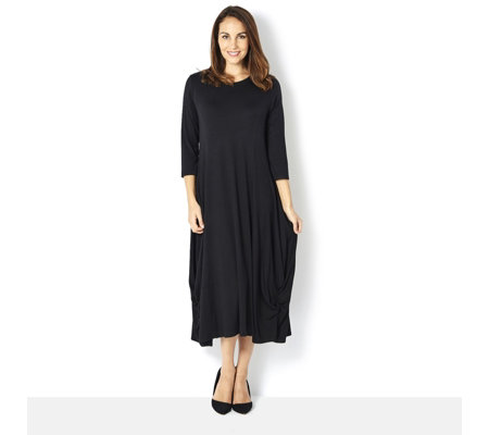 Yong Kim Jersey Maxi Dress Gathered Side Hem