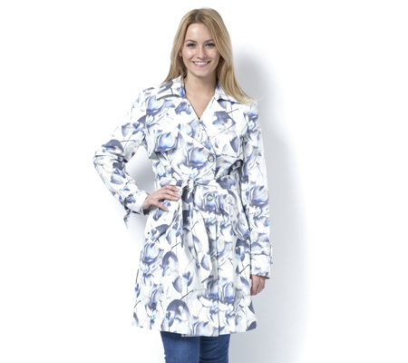 Centigrade Floral Print Trench Coat