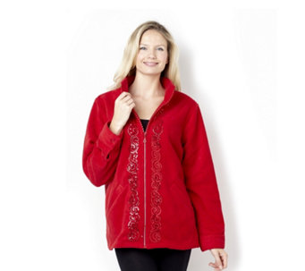 Quacker Factory Sequin Scroll Rhinestone Zip Fleece Jacket - 108245