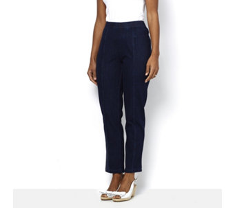 Isaac Mizrahi Live Knit Denim Regular Ankle Pull On Trousers - 164045