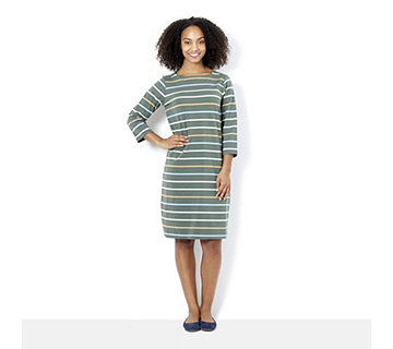 Denim & Co. Striped 3/4 Sleeve Boat Neck Dress - 164445
