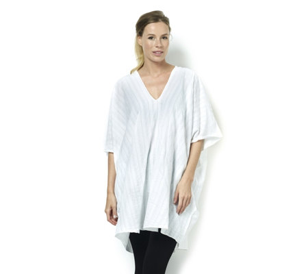 Join Clothes V Neck Dip Hem Cotton Tunic
