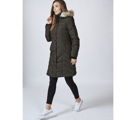Centigrade Chevron Quilted Side Panel Detail Hooded Coat