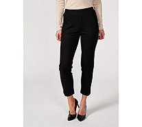 H by Halston Slim Ankle Knit Twill Pull On Trousers Regular - 172345