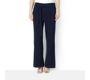 Wide Leg Trousers with Tie Waist by Nina Leonard - 159846
