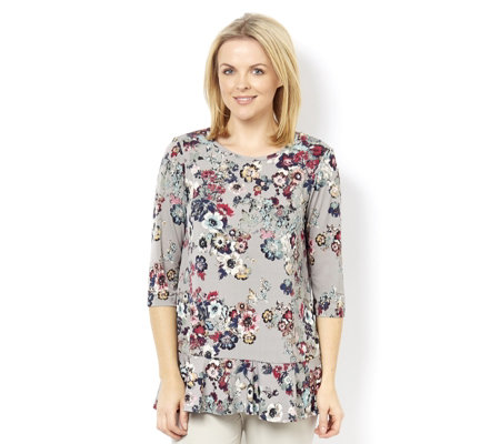 Kim & Co Brazil Knit Printed 3/4 Sleeve Frilled Tunic