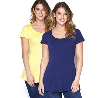 Isaac Mizrahi Live 2 Pack Short Sleeve Scoop Neck Peplum Tops - 162946