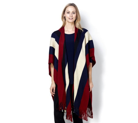 Frank Usher Knitted Stripe Multi Way Wrap