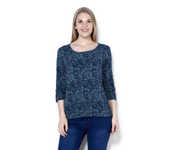 Antthony Designs Printed 3/4 Sleeve Top - 164546