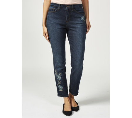 Denim & Co. Embroidered Stretch Denim Ankle Jeans